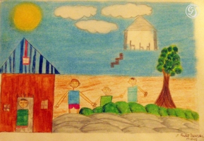 Landscape in pencil colours by Aadit