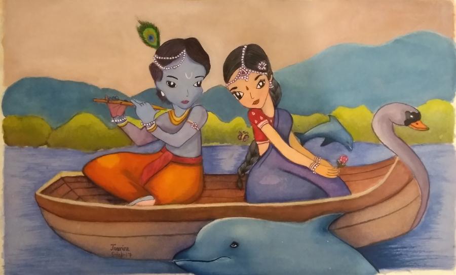 Radha Krishna in water colours