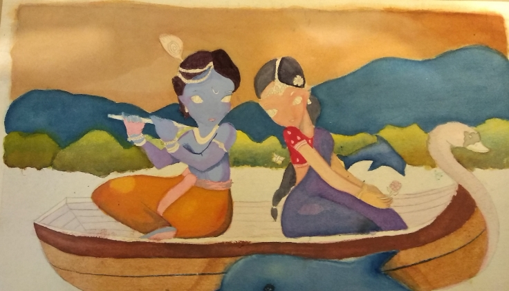 Radha Krishan in water colour