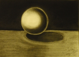 Ball made with charcoal.
