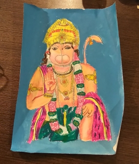 Lord Hanuman in oil pastel by sahej .