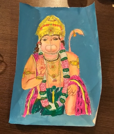 Lord Hanuman in oil pastel by sahej .