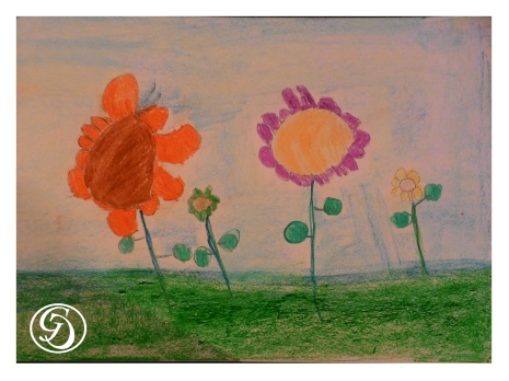 Flowers in oil pastel