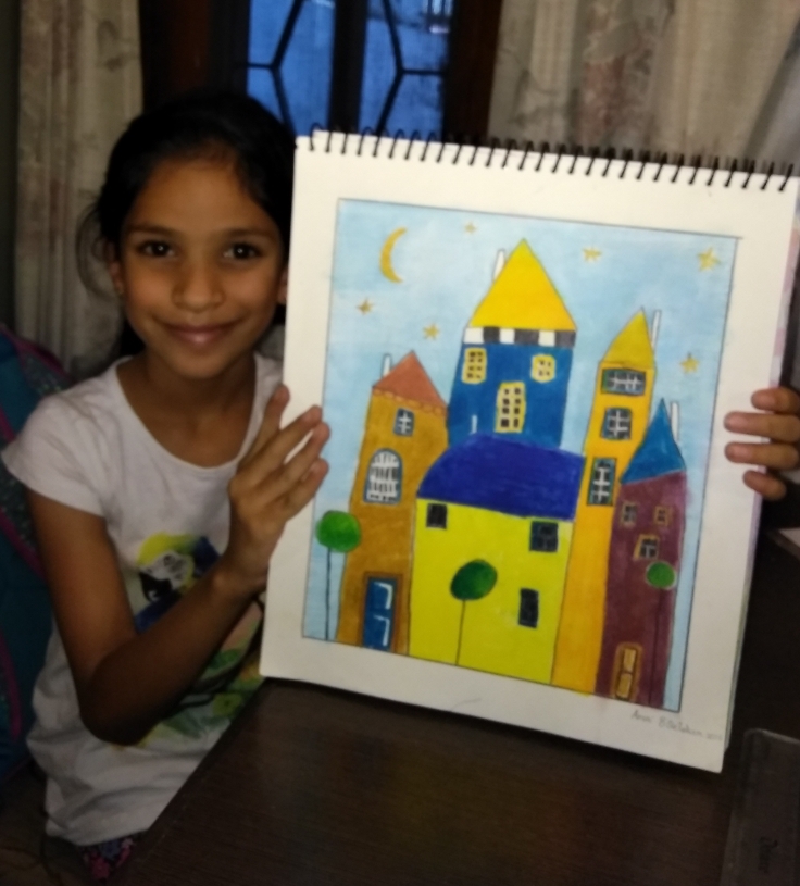 A scene in oil pastels by Anvi Gupta