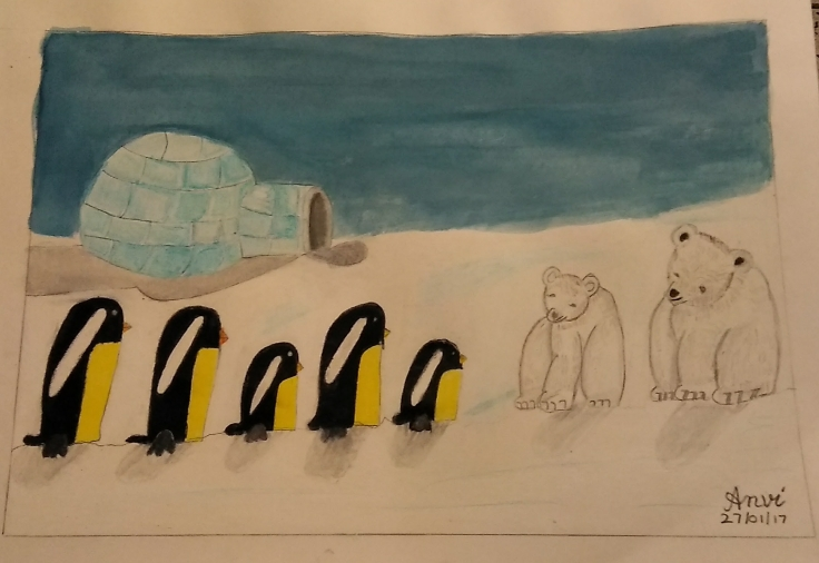 Bear and Penguin scene by Anvi Gupta