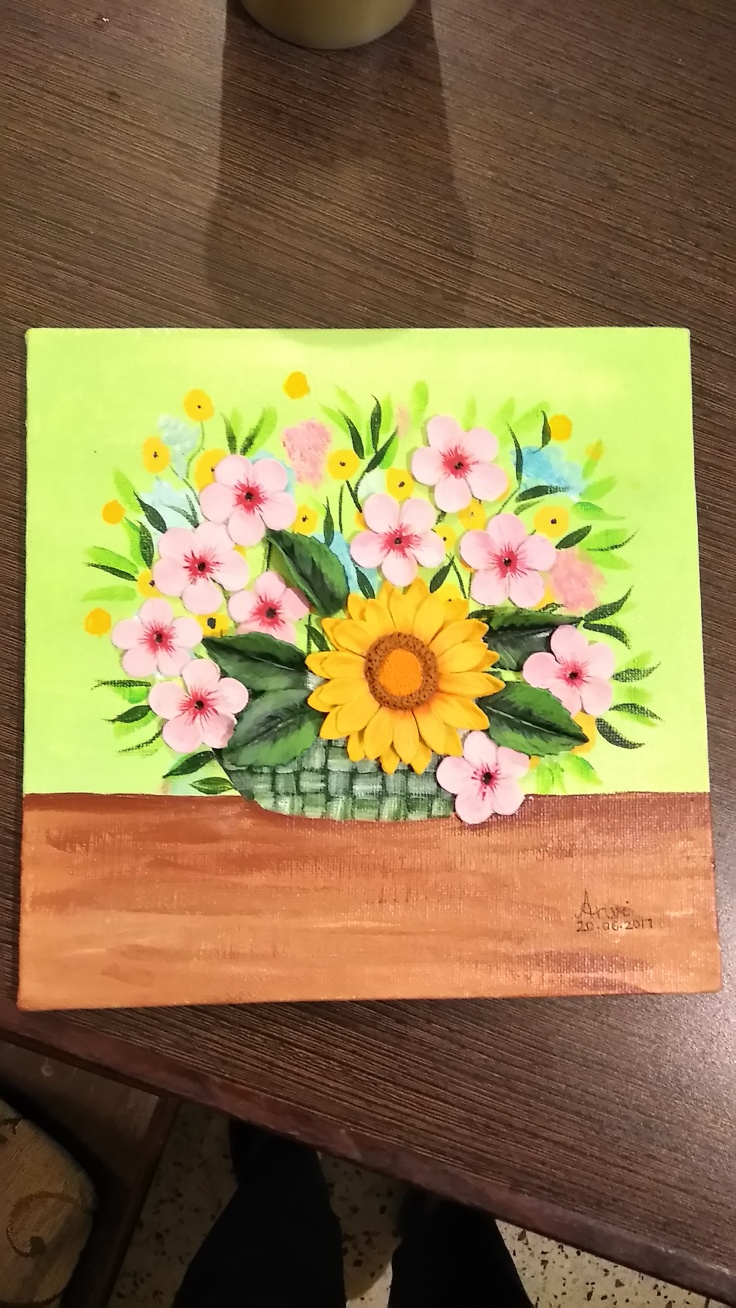 Sunflower clay painting by Anvi